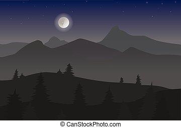 blu, nebbioso, montagne, luna, scuro, ardendo, foresta, vector., notte, paesaggio