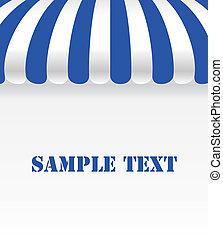 blu, negozio, bianco, tenda, striscia