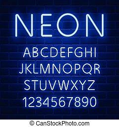 blu, neon, ardendo, font, carattere