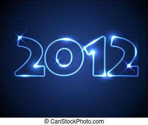 blu, neon, vettore, anno, nuovo, scheda, 2012