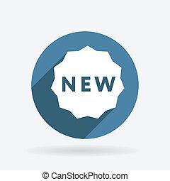 blu, new., etichetta, cerchio, shadow., icona
