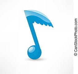 blu, nota, musicale, ala