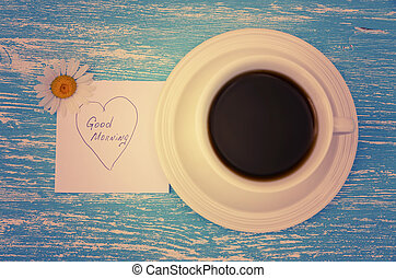 blu, nota, stile, buono, tazza, legno, foto, margherita, mattina, rustico, fondo., vendemmia, tè, fiori