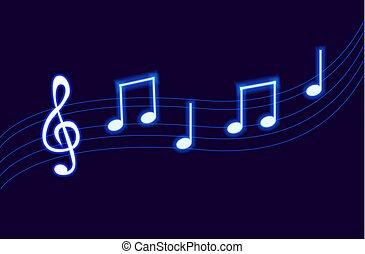 blu, note., neon, ardendo, vettore, musica, melodia