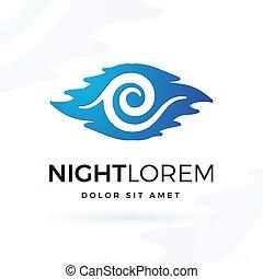 blu, notte, vettore, disegno, element., moderno, onda, forma, simbolo, logotipo, concept., luna, in, nubi, illustrazione, bianco, fondo.