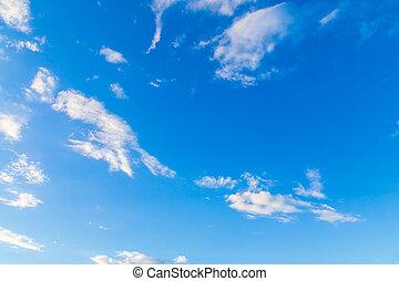 blu, nubi, bianco, cielo