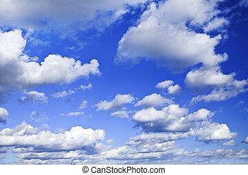 blu, nubi, cielo bianco
