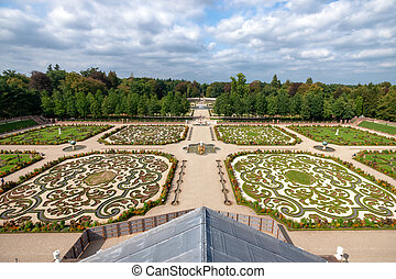blu, nubi, giardino, sky., inglese, barocco, bianco, paesaggio