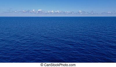 blu, nubi, orizzonte, cielo, scuro, mare