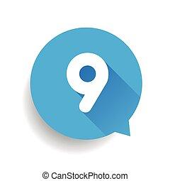 blu, numero nove, 9, bolla discorso