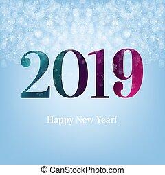blu, nuovo, cartolina, 2019, anno