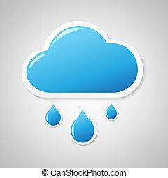 blu, nuvola, etichetta