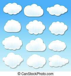 blu, nuvola, fondo, icone