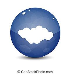 blu, nuvola, icona