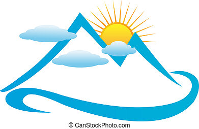 blu, nuvoloso, montagne, logotipo