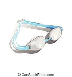 blu, occhiali protezione, nuoto