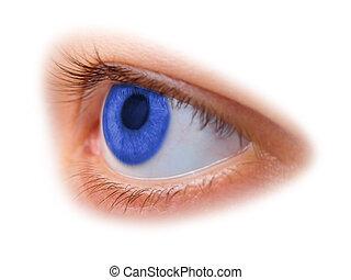 blu, occhio donna