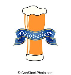 blu, oktoberfest, immagine, birra, vettore, fondo, nastro