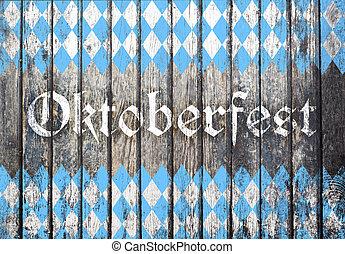 blu, oktoberfest, modello, rombo, fondo, bianco