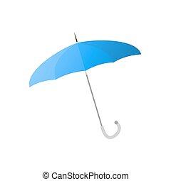 blu, ombrello, con, magro, metallo, bastone, isolato,...