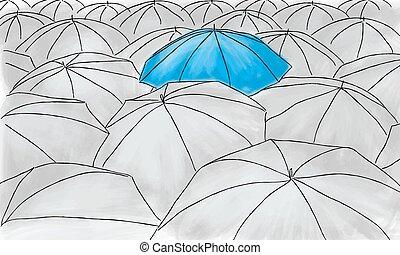 blu, ombrello, modello, -, grigio, ombrelli