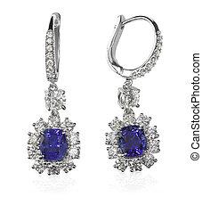 blu, orecchini, diamante, gemstone