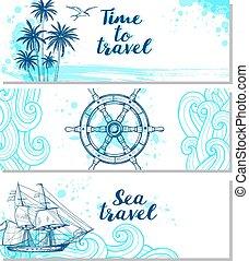 blu, orizzontale, marino, bandiere