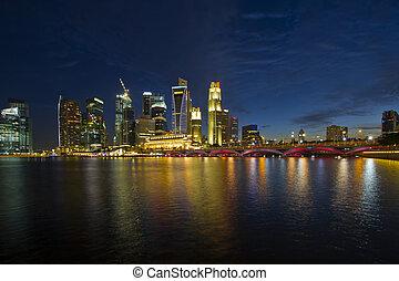 blu, orizzonte, ora, città singapore