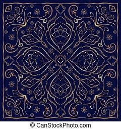 blu, ornamento, fazzoletto, oro