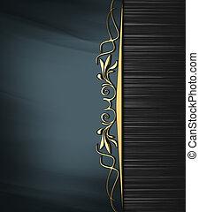 blu, oro, astratto, pattern., luogo, struttura, bordo, nero...