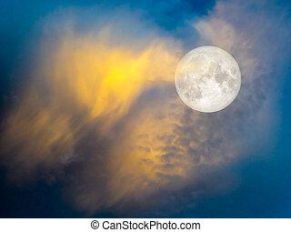 blu, oro, cielo, luna, super, nuvola