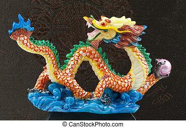 blu, oro, cinese, parete, drago, nero, statua