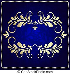blu, oro, modello, cornice, sfondo scuro