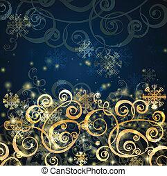 blu, oro, scuro, elegante, fondo, natale