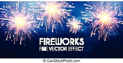 blu, oro, sky., fireworks, congradulations, win., morbido, ...