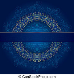 blu, oro, vendemmia, cornice, modelli, fondo, floreale