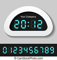 blu, orologio, contatore, -, ardendo, vettore, numeri, digitale, o