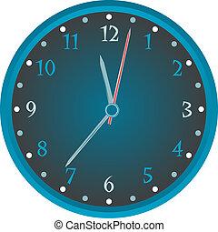 blu, orologio, parete, vendemmia, isolato, bianco