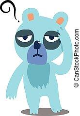 blu, orso, possedere, uno, mal di testa