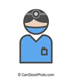 blu, ospedale, icona, chirurgo, uniforme