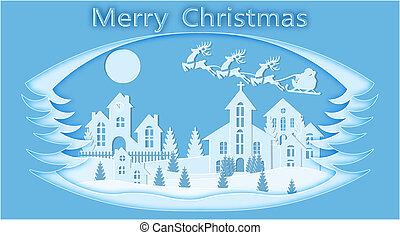 blu, paesaggio., taglio, framework., immagine, claus, cervo, illustrazione, stilizzato, year., santa, natale., nuovo, paper.
