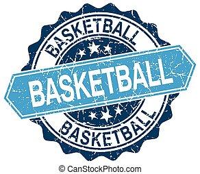 blu, pallacanestro, grunge, francobollo, bianco, rotondo