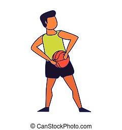 blu, pallacanestro, linee, giovane, isolato, gioco, uomo