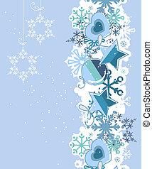 blu, palle, fiocchi neve, fondo, natale