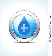 blu pallido, bottone, medicina, con, medico, croce, sanità, &, farmaceutico, icona, simbolo