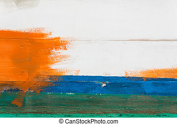 blu, parete, dipinto, verde bianco, arancia