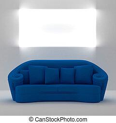 blu, parete, testo, posto, divano,  yours