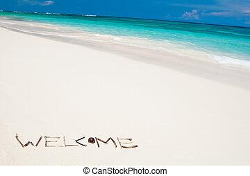 blu, parola, benvenuto, oceano, sabbia, spiaggia bianca