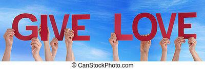 blu, parola, dare, diritto, persone, cielo, tenere mani, amore, rosso