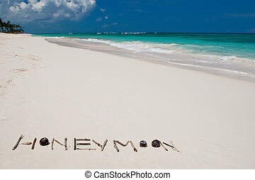blu, parola, luna miele, oceano, sabbia, spiaggia bianca